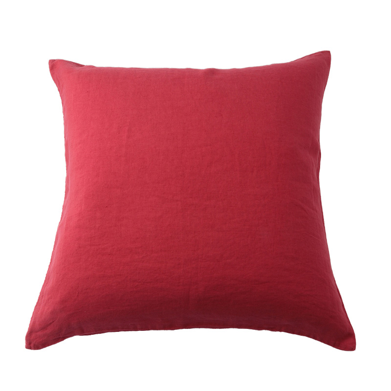 LINEN CUSHION COVER CORAL