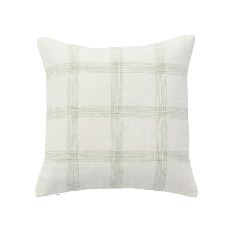 EMBROIDERED CHECK CUSHION COVER GREEN