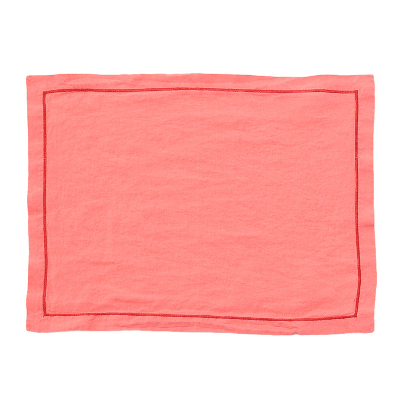 LINEN PLACEMAT BABYLOCK PINK / TOMATO