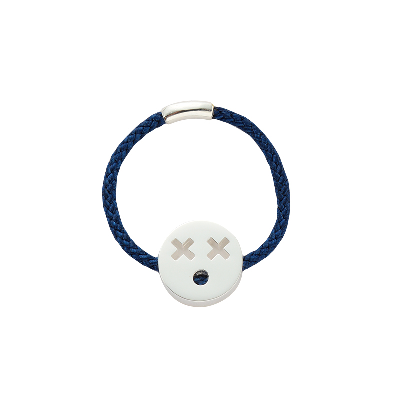RUIFIER FRIENDS QUIRKY RING NAVY CORD S SILVER CHARM