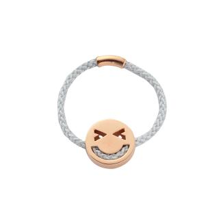 RUIFIER FRIENDS MARRY RING GREY CORD 18CT ROSE GOLD CHARM