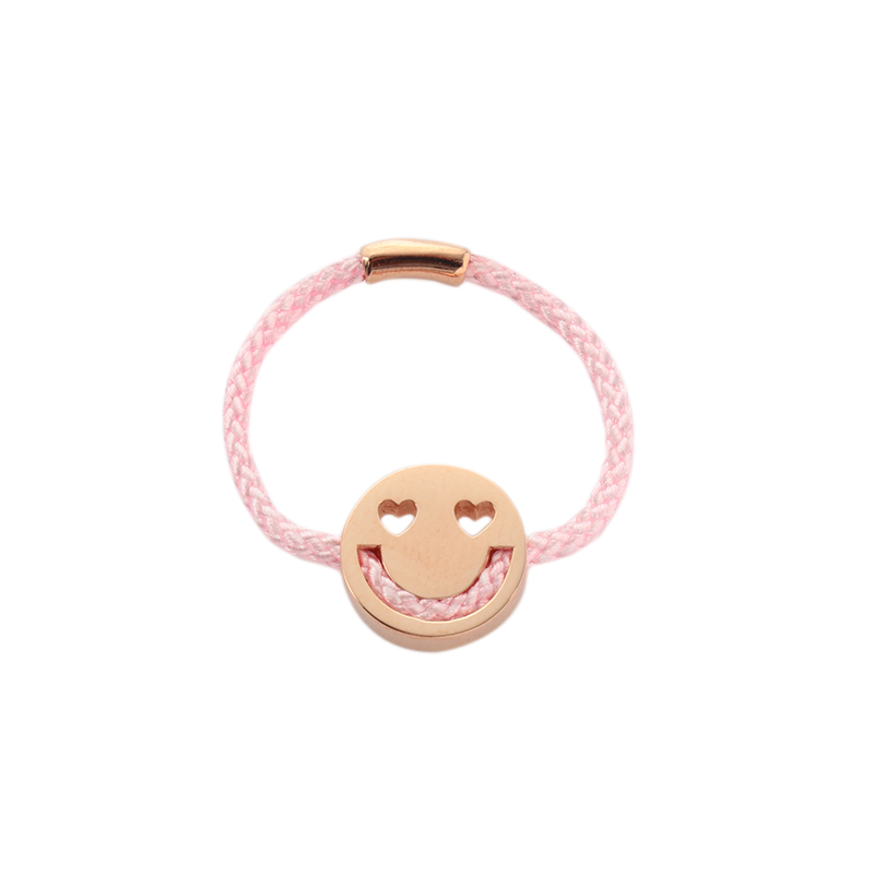 RUIFIER FRIENDS SMITTEN RING PINK CORD 18CT ROSE GOLD CHARM