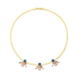 SABRINA DEHOFF NECKLACE FINE CRYSTAL ARTICHOC STRIPED ANTIBED RED BLUE
