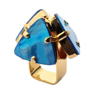 SABRINA DEHOFF EARING WIDE WITH MOUNTAIN XL GOLD BLUE MEDIUM
