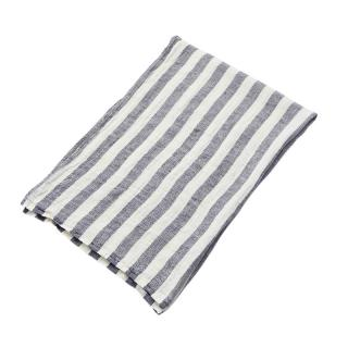 CHEVRON STRIPE LINEN BATH TOWEL BLUE WHITE