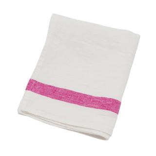 SELVEDGE STRIPE TEA TOWEL WHITE / PINK
