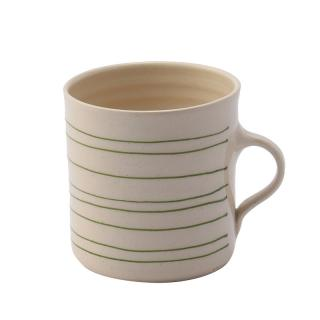 STRIPE IRISH GREEN HORIZONTAL BREAKFAST MUG