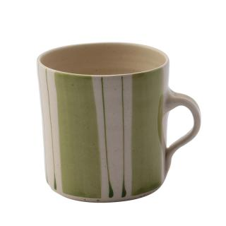 STRIPE IRISH GREEN WIDE VERTICAL BREAKFAST MUG