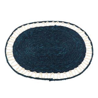 OVAL PLACEMAT INDIGO WITH WHITE LACE