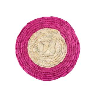 DOUBLE ROUND COASTER NATURAL / PINK RIM