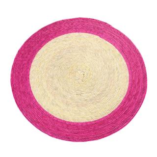 DOUBLE ROUND PLACEMAT NATURAL / PINK RIM