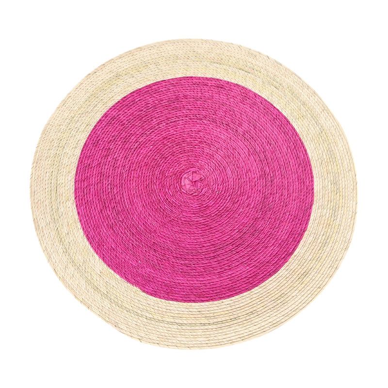 DOUBLE ROUND PLACEMAT PINK / NATURAL RIM