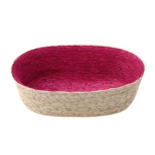 DOUBLE OVAL BASKET NATURAL / PINK INSIDE