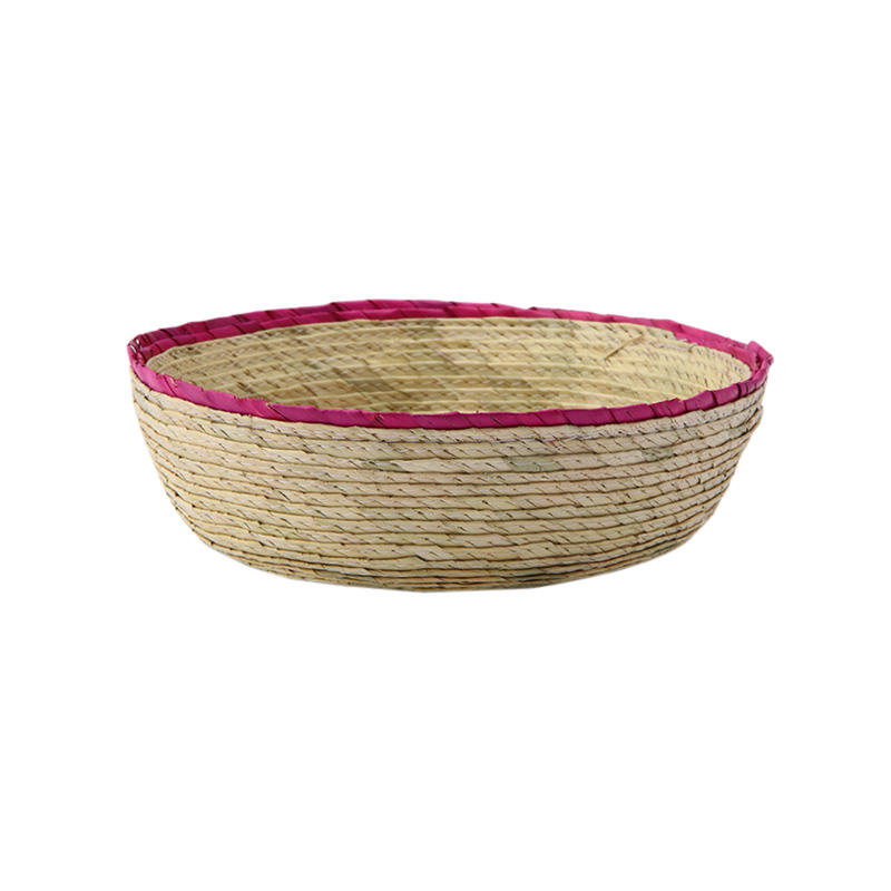 DOUBLE ROUND BASKET NATURAL / PINK RIM S