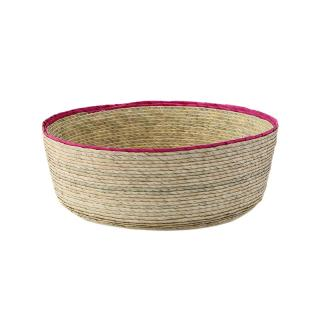 DOUBLE ROUND BASKET NATURAL / PINK RIM M