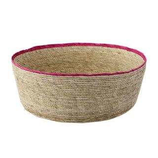 DOUBLE ROUND BASKET NATURAL / PINK RIM L