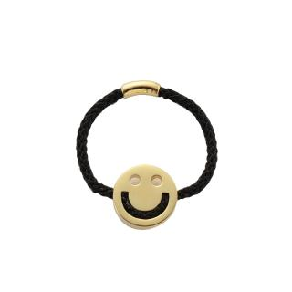 RUIFIER FRIENDS HAPPY RING BLACK CORD 18CT GOLD CHARM
