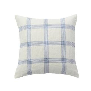 EMBROIDERED CHECK CUSHION COVER BLUE