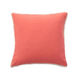 HERRINGBONE LINEN BORDER CUSHION COVER PEACH / IVORY LINE