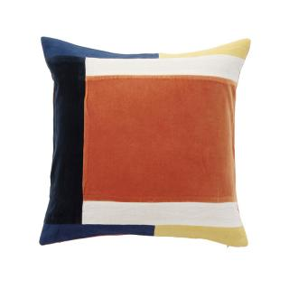 COLOUR BLOCK CORDED CUSHION COVER COBALT