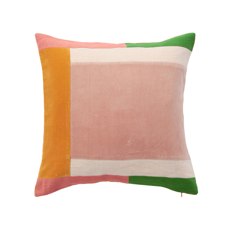 COLOUR BLOCK CORDED CUSHION COVER PINK GREEN