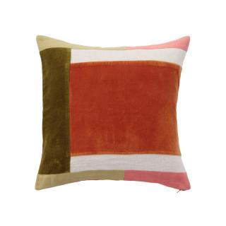 COLOUR BLOCK CORDED CUSHION COVER LEAFRUST
