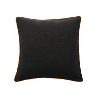 PIPED VELVET CUSHION COVER GREY / ORANGE LINE