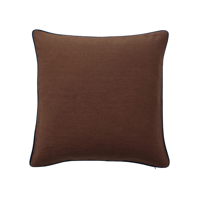 PIPED VELVET CUSHION COVER BROWN / COBALT LINE