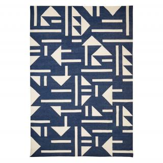 TRIANGLE TILE DHURRY RUG BLUE & IVORY