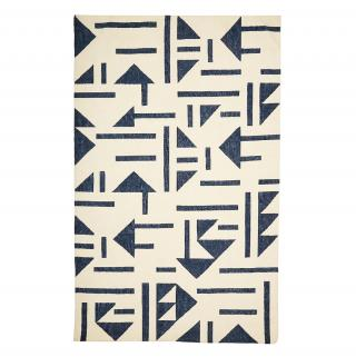 TRIANGLE TILE DHURRY RUG IVORY & BLUE