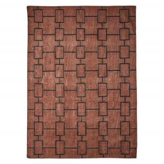 ABSTRACT RECTANGLES DHURRY RUG BROWN
