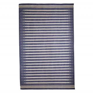 CLASSIC STRIPE COTTON DHURRY RUG BLUE & WHITE