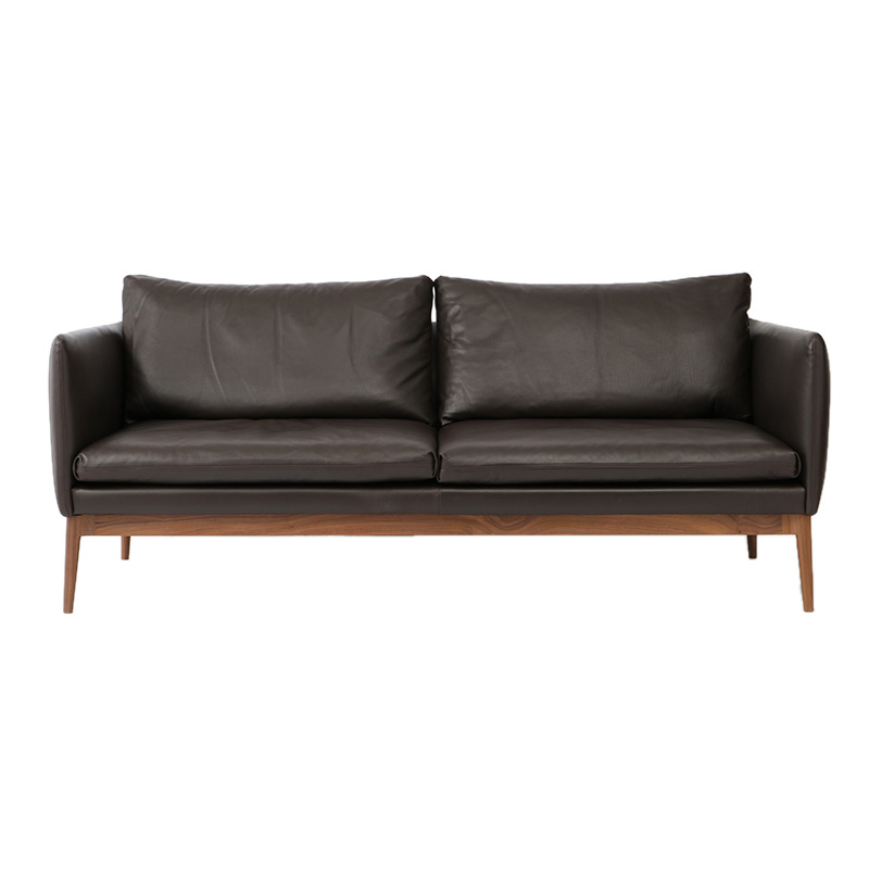 ELGIN 3S SOFA WALNUT BROWN SUEDE LEATHER