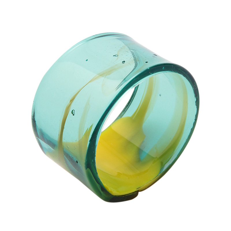 RESIN NAPKIN RING YELLOW AND CLEAR GREEN
