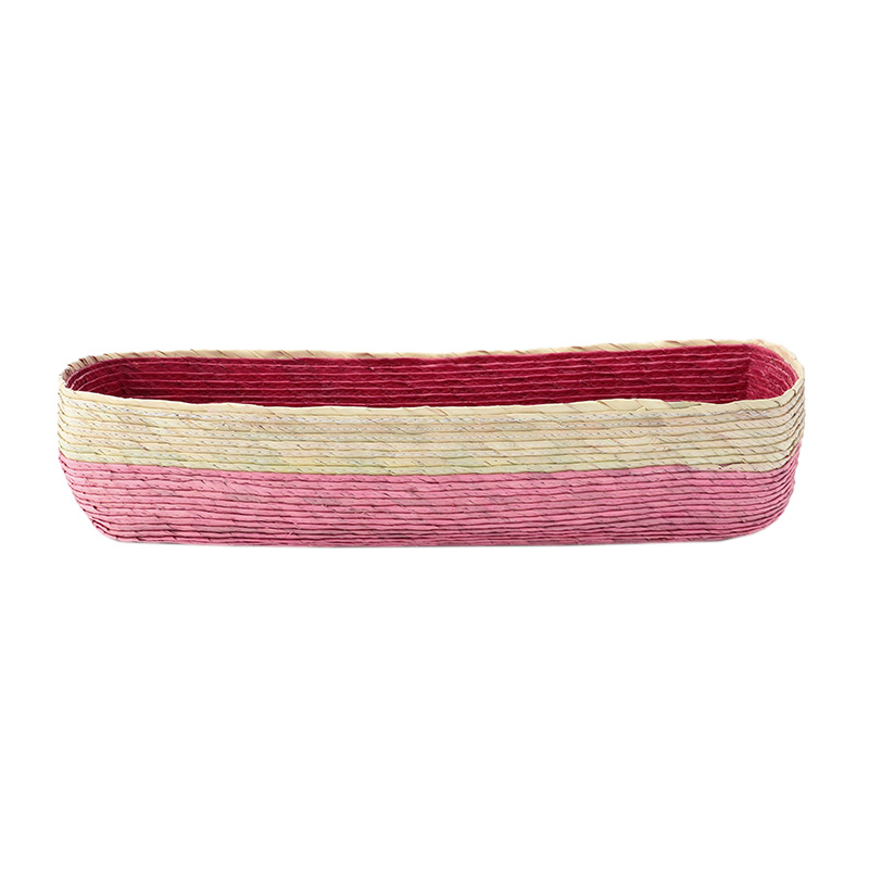 BLOCK BASKET RECTANGLE PINK / NATURAL / RED M