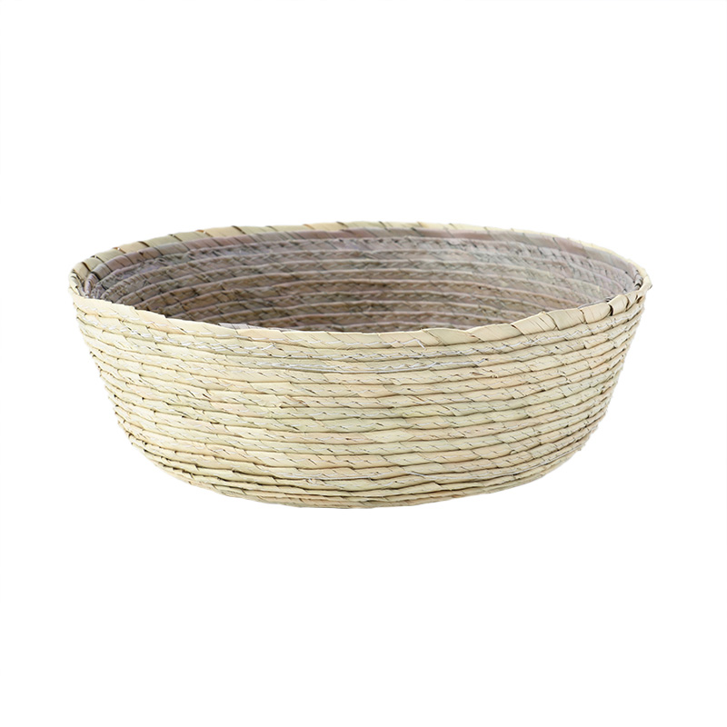 BLOCK BASKET ROUND NATURAL / GREY / YELLOW
