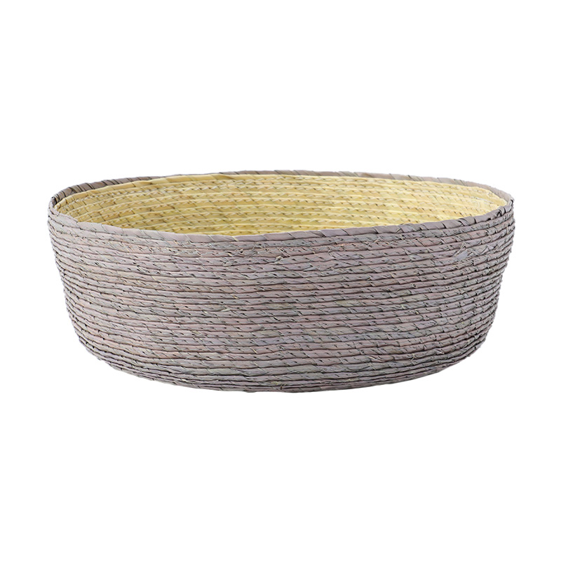 BLOCK BASKET ROUND GREY / NATURAL / YELLOW
