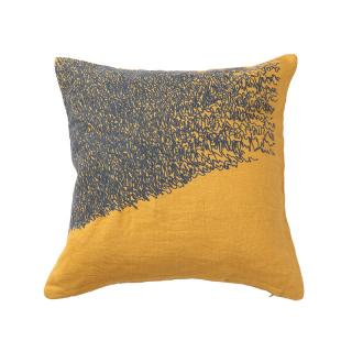 SCRIBBLE CUSHION COVER OCHRE