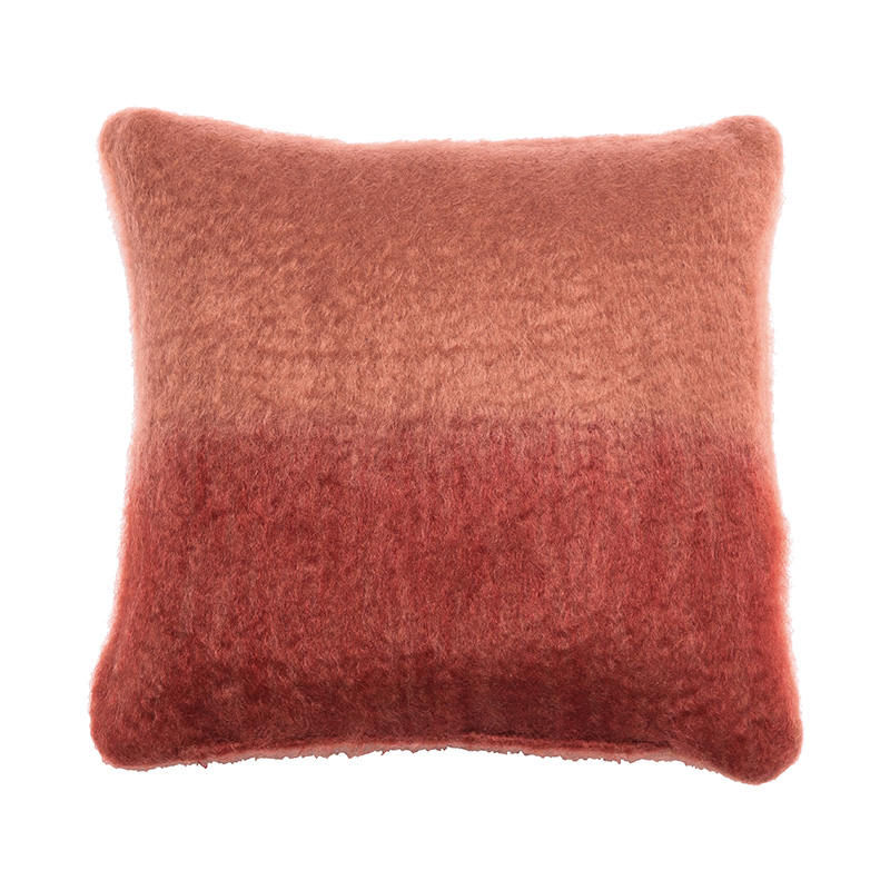 OMBRE MOHAIR CUSHION COVER TAUPE / CORAL