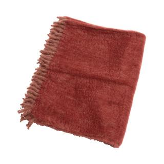 OMBRE MOHAIR THROW TAUPE / CORAL