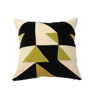 GEO TRIANGLES CUSHION COVER GREEN