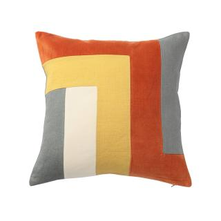 GEO BLOCK CUSHION COVER MANDARIN / GREY