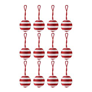 XMAS 16 STRIPE BAUBLE RED / WHITE 4CM SET OF 12