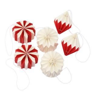 XMAS 16 FACET RED / WHITE SET OF 6