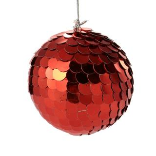 XMAS 16 SEQUIN BALL RED