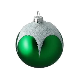 XMAS 16 GREEN WITH FROSTED STAR 8CM