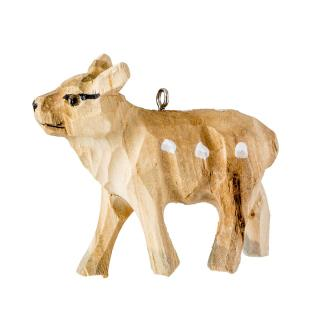 XMAS 16 CARVED WOOD ANIMAL (DEER)