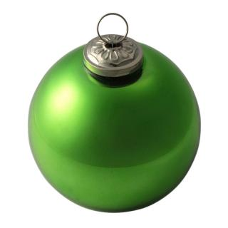 XMAS 16 BALL GLASS SHINY GREEN SMALL 10CM