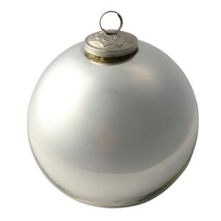 XMAS 16 BALL GLASS SHINY SILVER LARGE 15CM