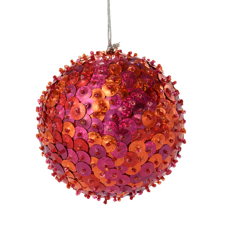 XMAS 16 SEQUIN BALL PINK / ORANGE